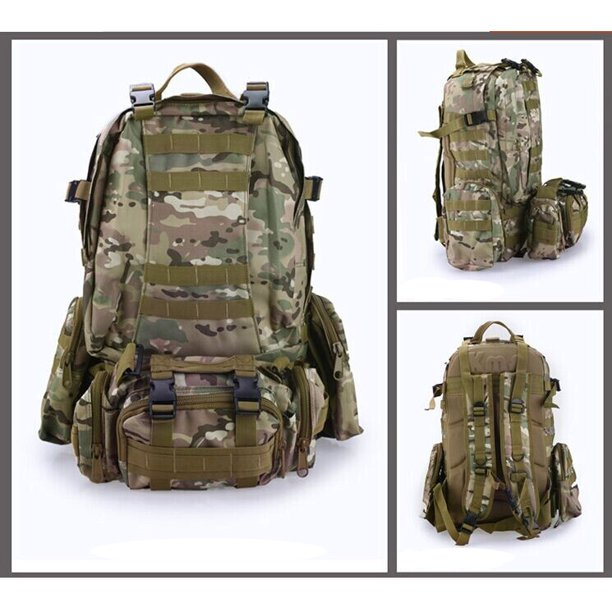 3D Molle 55L Military Tactical Backpack, Outdoor Large Assault Combat Rucksack Bag for Hiking Camping Mountain Climbing