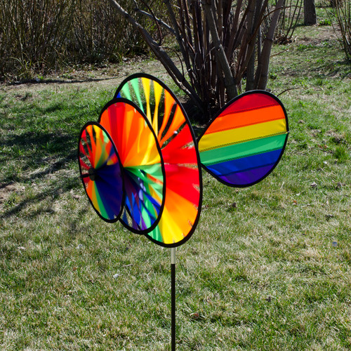 In The Breeze Rainbow Triple Wheel Wind Sail Spinner
