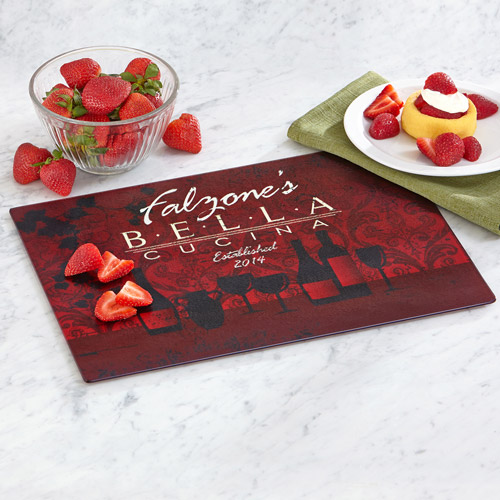 Personalized Bella Cucina Glass Cutting Board