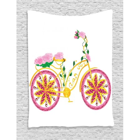 Bicycle Tapestry, Fantasy Bike with Exotic Swirling Floral Detail on the Seat and Tires Hippie Image, Wall Hanging for Bedroom Living Room Dorm Decor, Pink Yellow, by Ambesonne
