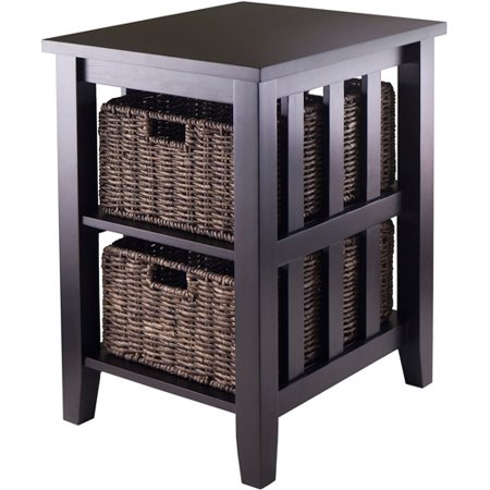 Morris End Table with 2 Baskets  Espresso. End Tables   Walmart com