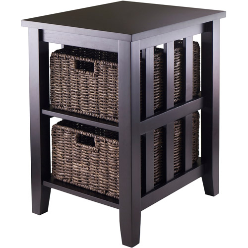 Morris End Table with 2 Baskets, Espresso