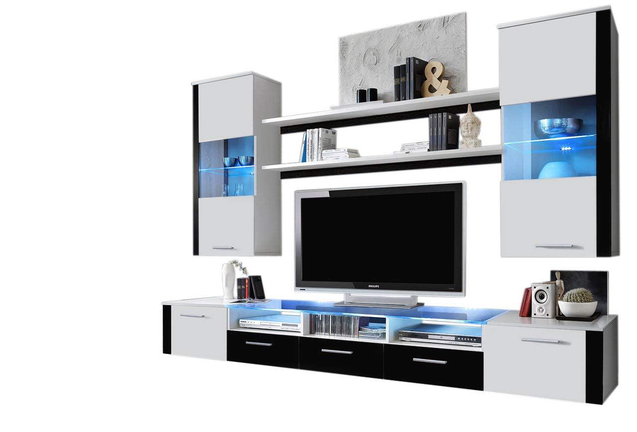 Fresh wall unit modern entertainment center with led lights white black walmart com