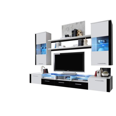 Entertainment Center Unit - Fresh Wall Unit Modern Entertainment Center with LED Lights, White/Black