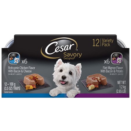(3 Pack) CESAR SAVORY DELIGHTS Wet Dog Food Rotisserie Chicken & Filet Mignon Variety Pack, (12) 3.5 oz. Trays
