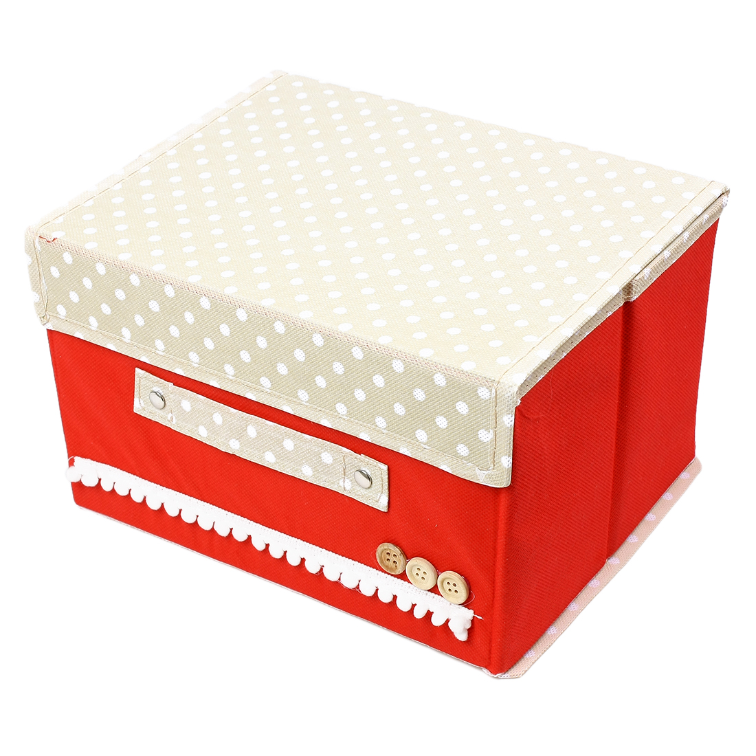 Makeup Cosmetic Jewelry Container Polka Dot Pattern Cover Storage Box Holder Red