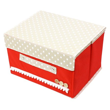 - Makeup Cosmetic Jewelry Container Polka Dot Pattern Cover Storage Box Holder Red