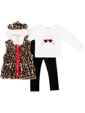 Little Lass Toddler Girls 3-pc. Faux Fur Leopard Vest Set