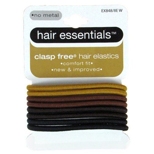 Hair Essentials Clasp Free Hair Elastics, Assorted Colors, 8 count