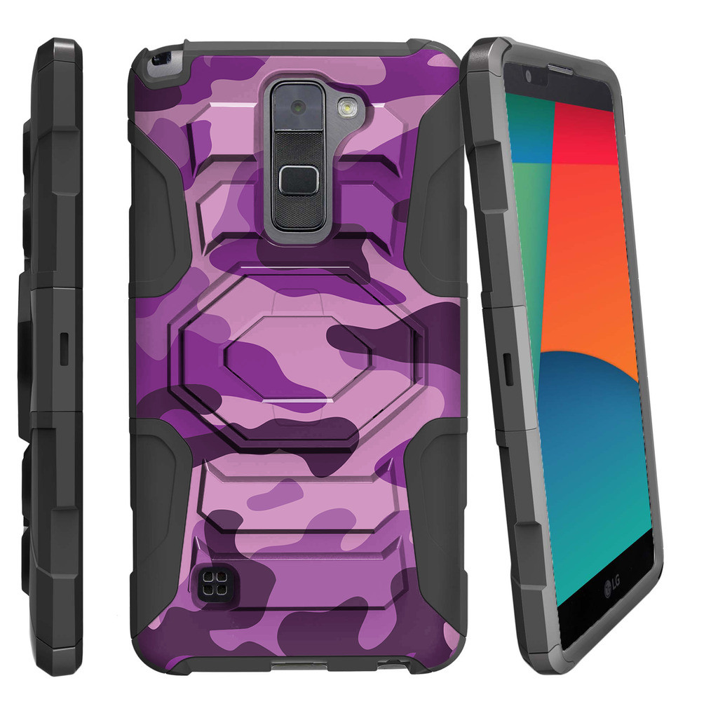 LG G Stylo 2 Case | LG Stylus 2 Case | LG LS775 Case [ Armor Reloaded ] Heavy Duty Rugged Phone Case with Holster + Kickstand - Purple Camouflage