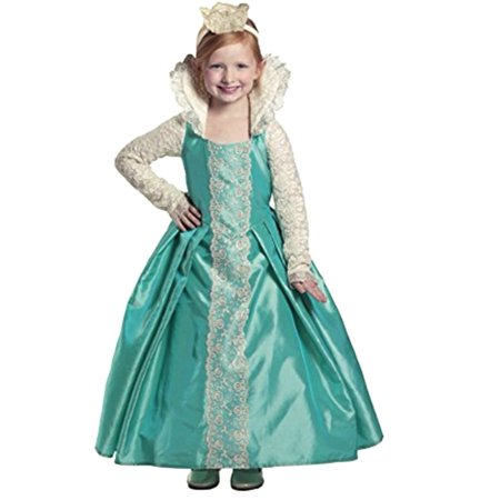 Girls Green White Lace Queen Evelyn Dress Up Halloween Costume - Greek Queen Costume