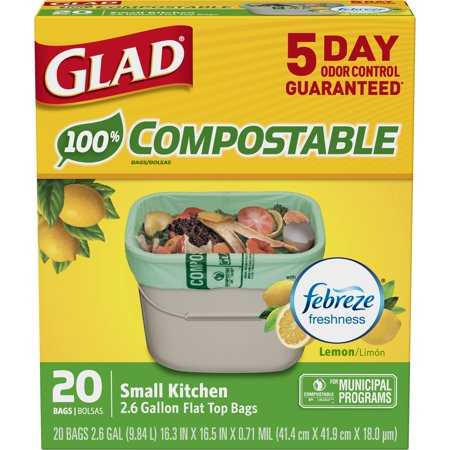 Glad OdorShield Small Kitchen 100% Compostable Trash Bags - Lemon - 2.6 Gallon - 20 ct
