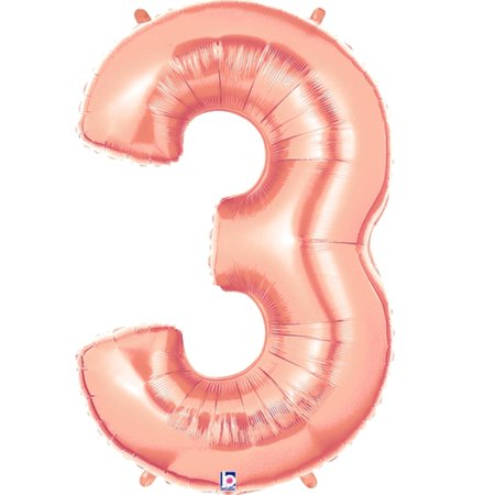 Giant Rose Gold Number 3 Foil Balloon 40