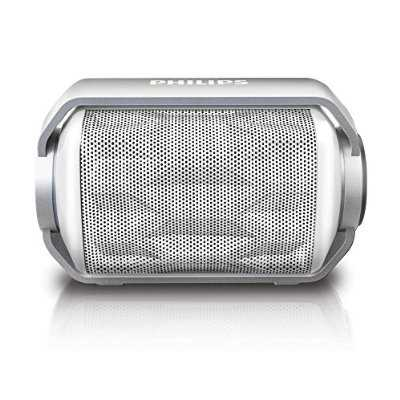 Refurbished Philips BT2200W/27 Bluetooth Wireless Portable Speaker with Built-in Microphone and Rechargeable Battery (White)