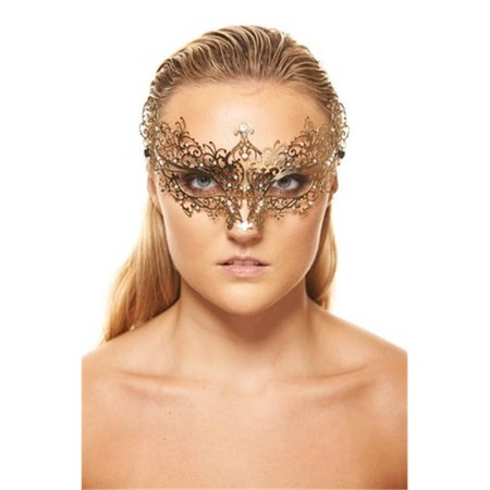 Gold Luxury Metal Filigree Laser Cut Masquerade Mask with Clear Rhinestones, 4 x 9 in. - One Size
