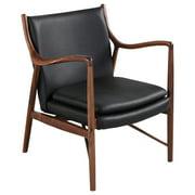Kardiel  Copenhagen 45 Mid-Century Modern Arm Chair, Black Italian Leather/Walnut