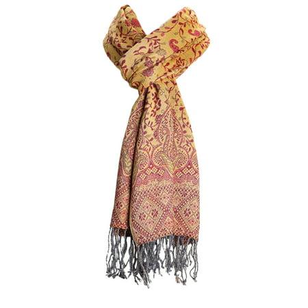 Layer Scarf - Amtal Women Reversible Paisley Brocade Floral Pashmina Shawl Scarf w/Fringes