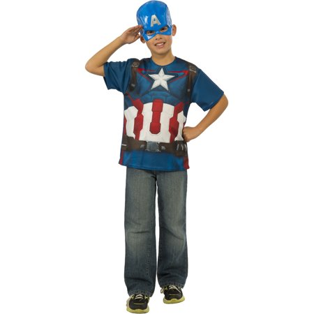 Kids Boys Marvel Captain America Avengers 2 T-Shirt Costume Large 12-14 (Marvels Kids)