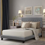 Harper & Bright Designs Wilshire Upholstered Linen Stitch Tufted Platform Bed with Headboard and Slat Support, Full (Gray)