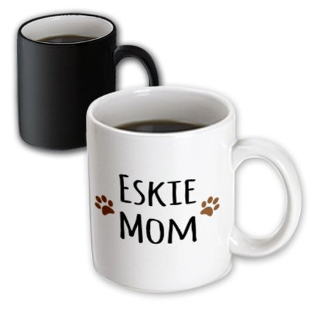3dRose Eskie Mom - American Eskimo Dog breed pet owner - brown paw prints - doggie daddy doggy love- lovers - Magic Transforming Mug, 11-ounce