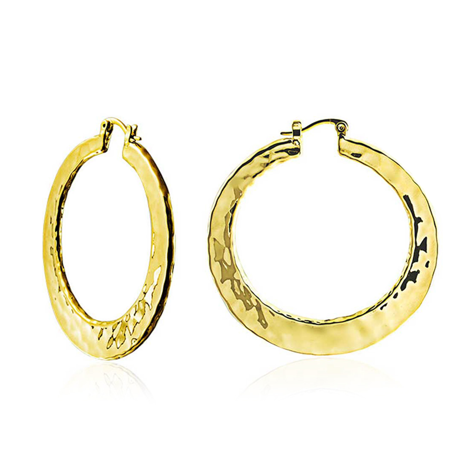 Bling Jewelry High Polished Gold Plated Brass Large Hammered Hoop Earrings 2in