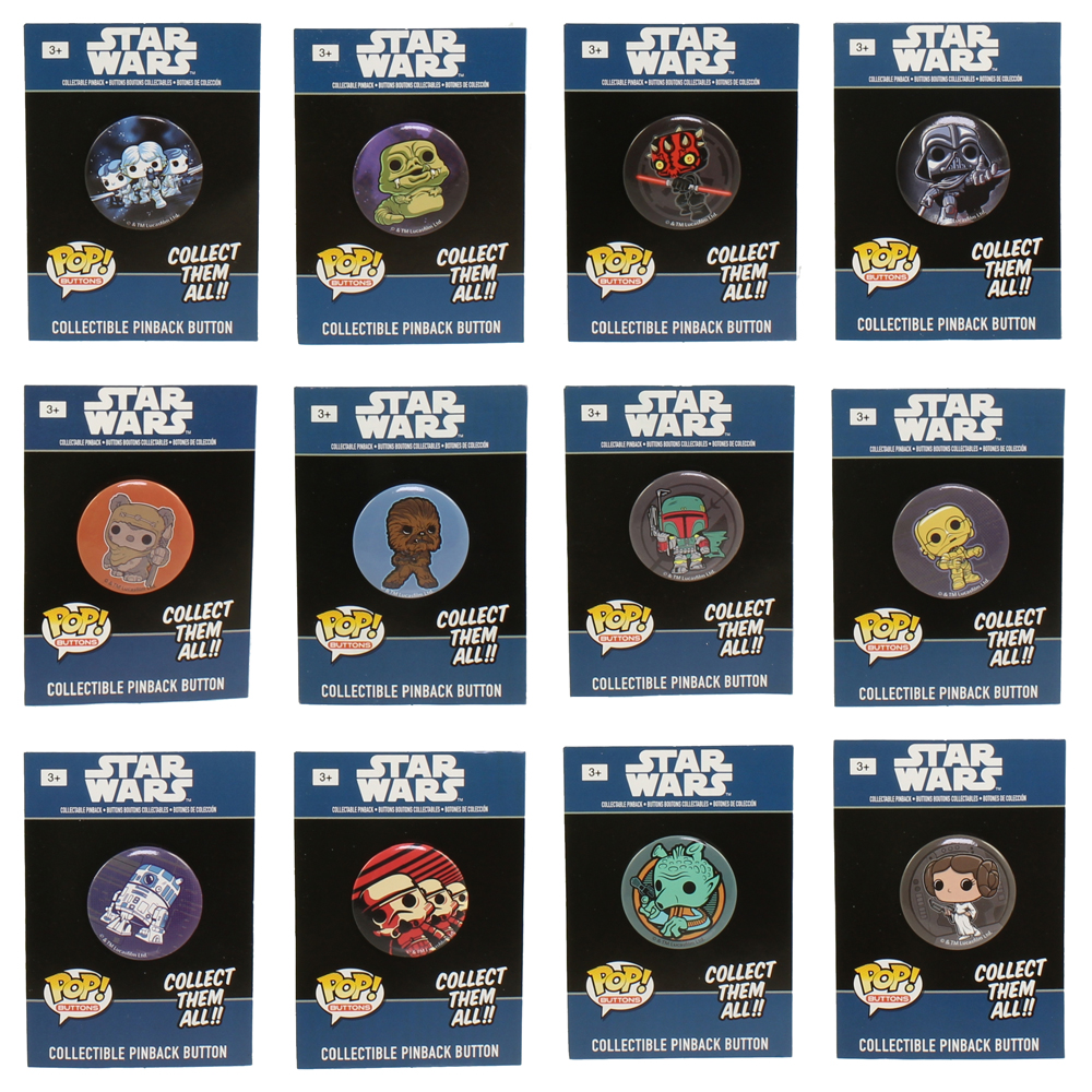 Funko Collectible Pinback Buttons - Classic Star Wars - SET OF 12