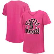 Seattle Mariners New Era Girls Youth Jersey Stars V-Neck T-Shirt - Pink