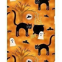 Clearance Sale~Spooky Vibes Halloween Cats Cotton Fabric by Wilmington Prints - Halloween Fabric 2017