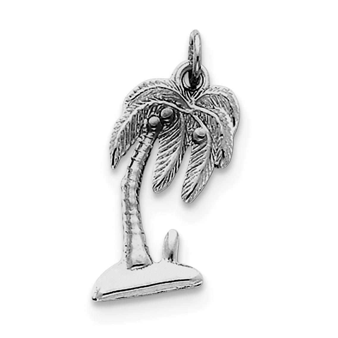 925 Sterling Silver Palm Tree Charm Pendant 25mm x 13mm