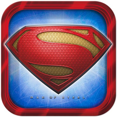 Superman Large 9 Inch Square Lunch Dinner Plates](Superman Chest Plate)