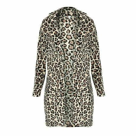 Fashion Women Leopard Winter Warm Faux Fur Coat Cardigan Outwear Coat Jacket ()