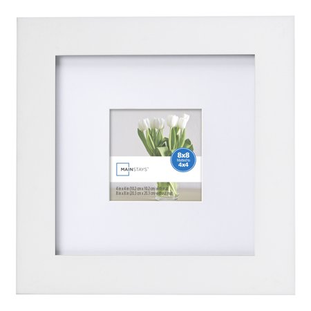 Mainstays 8x8 Matted To 4x4 Flat Wide White Picture Frame Walmartcom