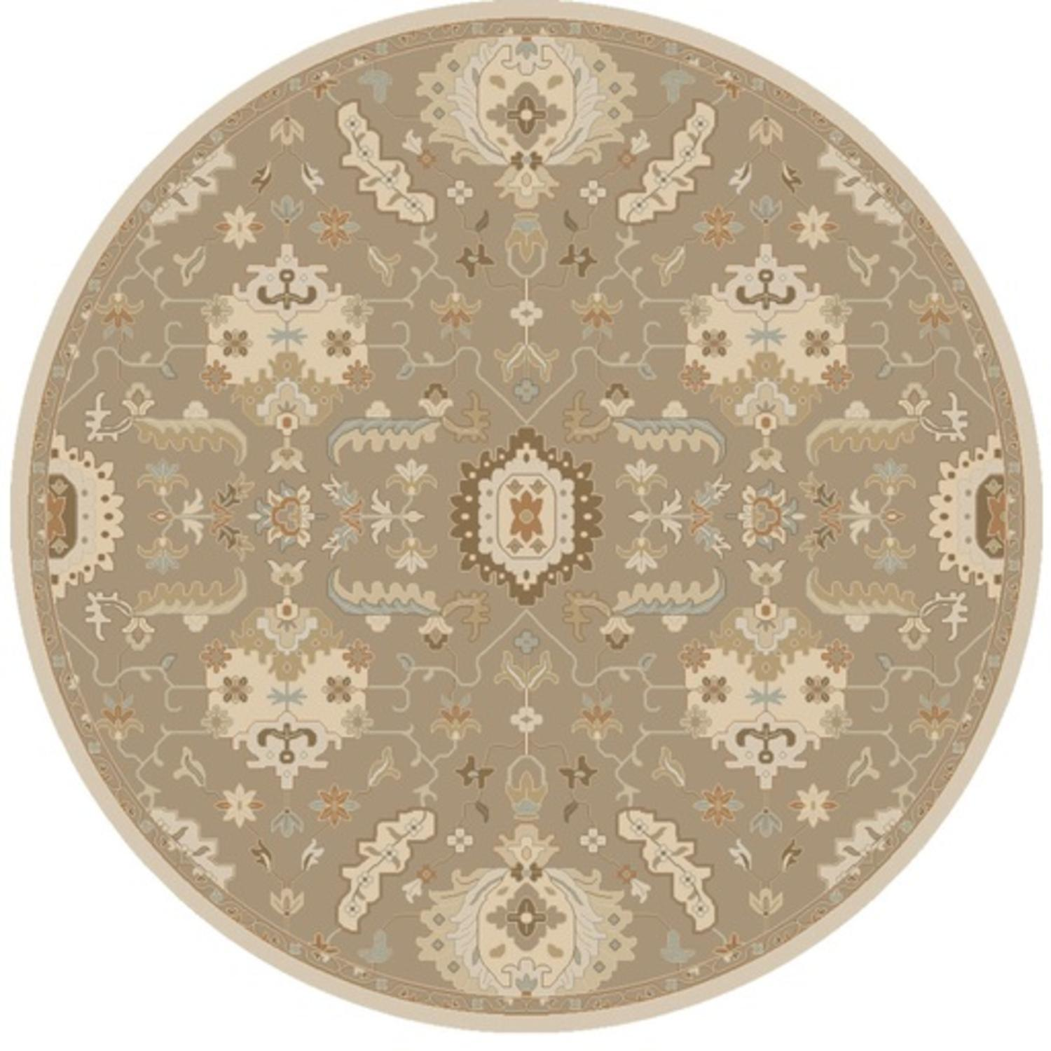 9.75' Majestic Augustus Tan Brown and Sandy White Round Wool Area Throw Rug