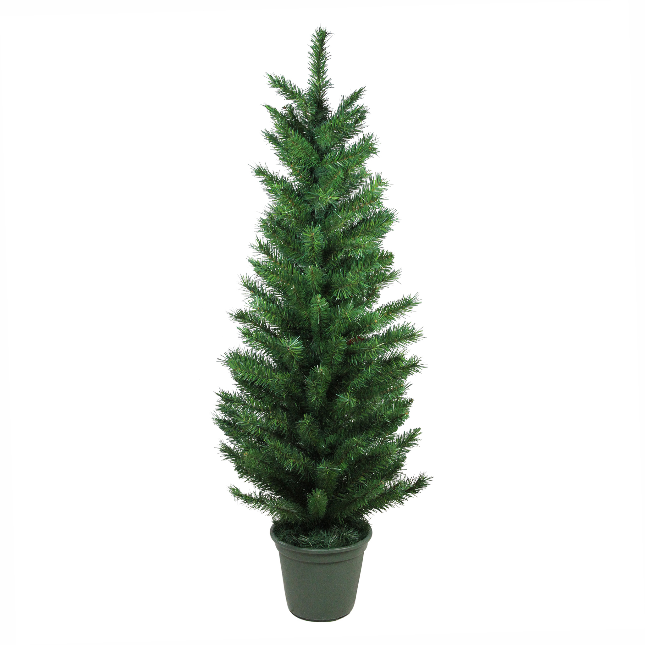 Potted Artificial Christmas Tree: 4' Potted Virginia Pine Walkway Slim Artificial Christmas