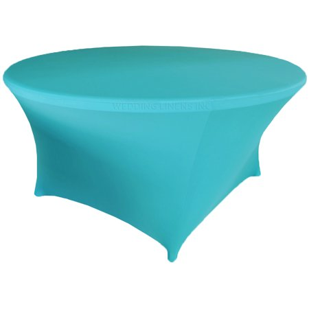 Wedding Linens Inc. Wholesale (200 GSM) 6 FT (72 in) Round Spandex Stretch Fitted Table Cover Tablecloths - Turquoise