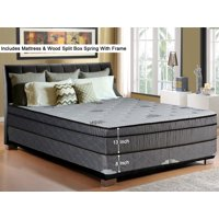 Wayton 13 Inch Soft Foam encased Pillowtop Gel Memory Foam And Innerspring Mattress And 8 Inch Traditional Wood Box Spring Set With Frame