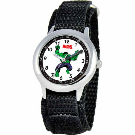 Marvel Hulk Boys' Stainless Steel Watch, Black Strap