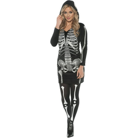 Skeletal Hoodie Dress Women's Adult Halloween Costume (Little Black Dress Halloween Costumes)