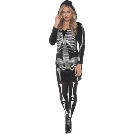 Skeletal Hoodie Dress Women's Adult Halloween Costume (Halloween Costumes With Long Black Dresses)
