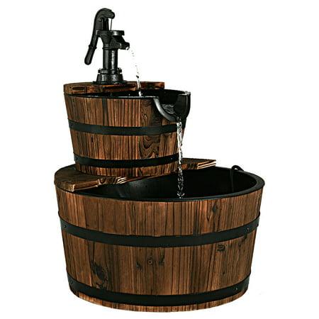 Half Barrel Fountain - Costway 2 Tier Barrel Waterfall Fountain Barrel Wooden Water Fountain Pump Outdoor Garde
