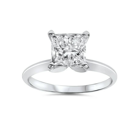 1ct Solitaire Princess Cut Diamond Engagement Ring 14K White Gold