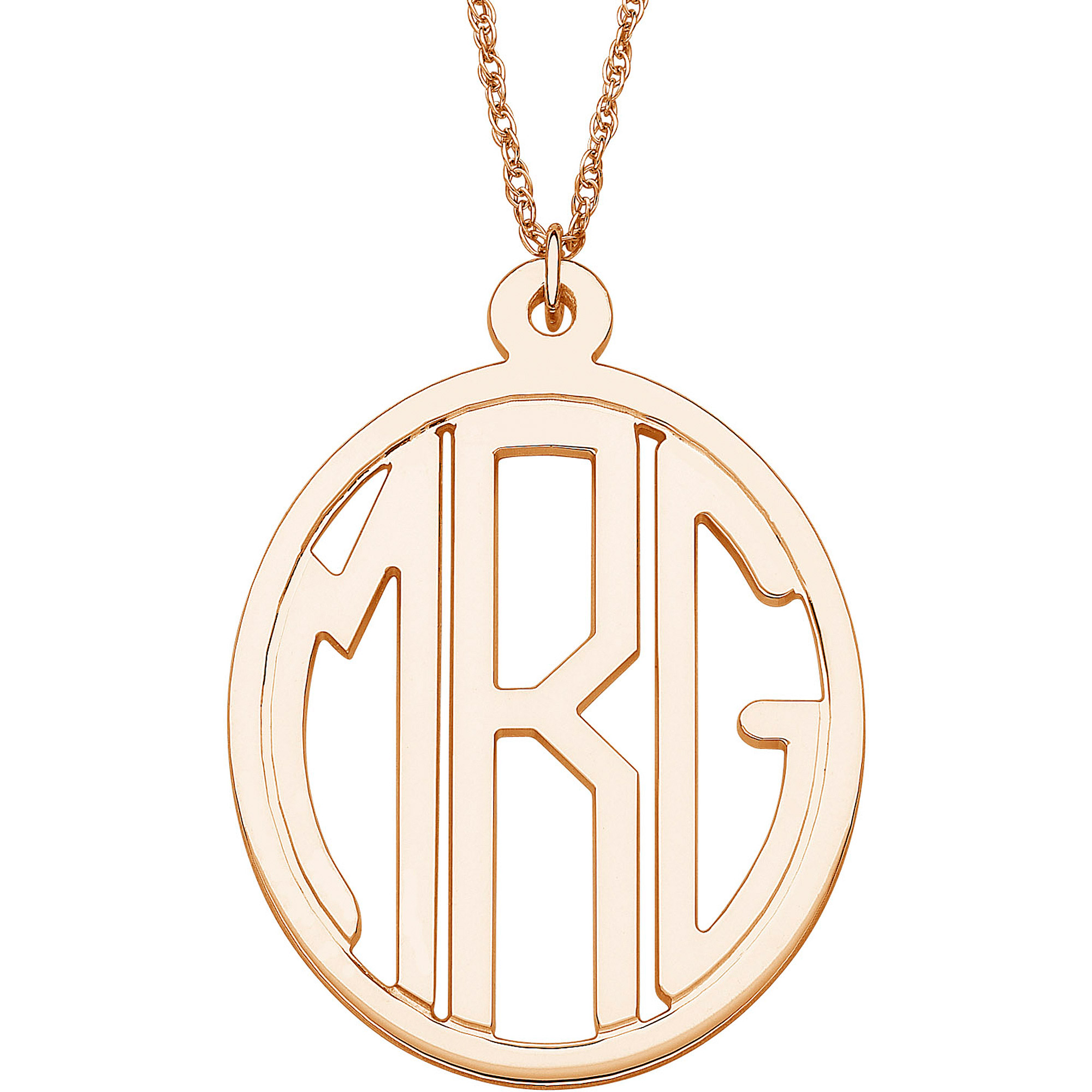 Personalized 14kt Gold over Sterling Silver Tailored Oval Monogram Necklace