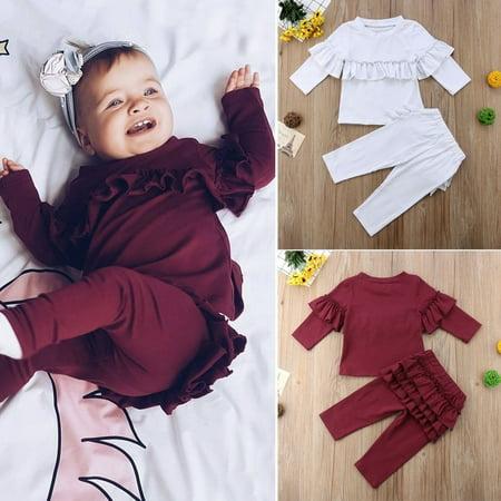 Toddler Kids Baby Girl Ruffle Cotton Tops Pants Leggings 2Pcs Outfits Clothes - Ruffle Leggings Girls