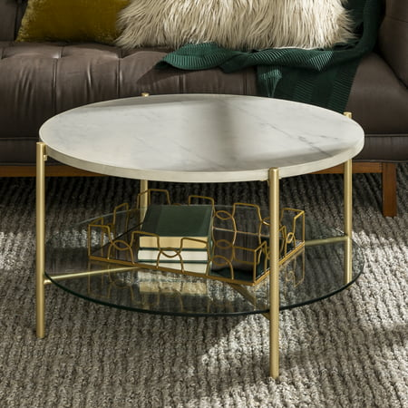 Manor Park Mid-Century Round Coffee Table - White Marble /