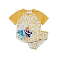 Disney Frozen Girls Yellow Frozen Rash Guard Swimming Suit 2 Piece Bathing Suit