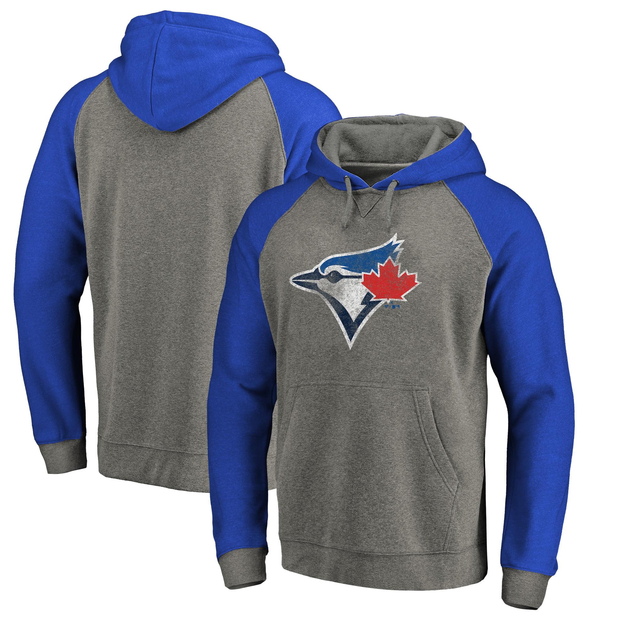 Toronto Blue Jays Fanatics Branded Distressed Team Logo Tri-Blend Raglan Pullover Hoodie - Gray/Royal