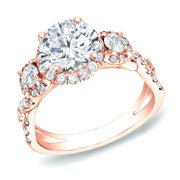 Auriya  2 carat TW 3 Stone Halo Diamond Engagement Ring 14k Rose Gold