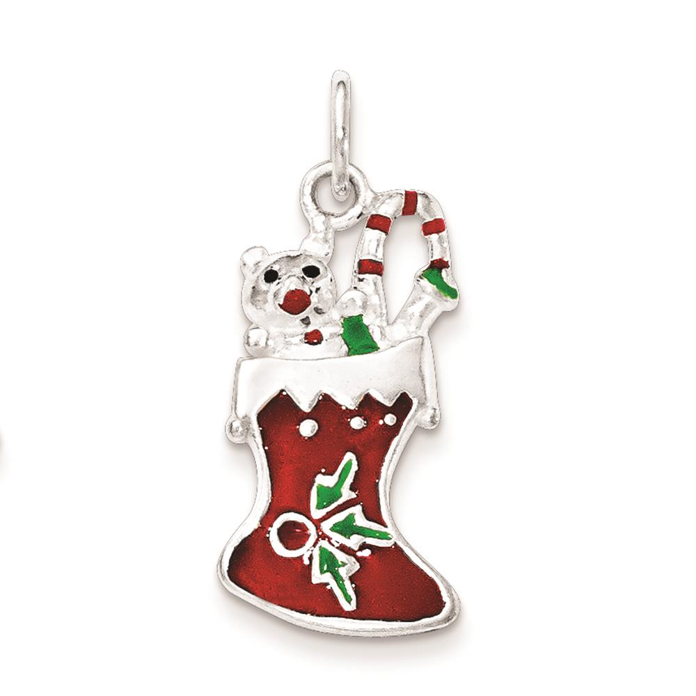 925 Sterling Silver Polished Enamel Christmas Stocking Charm Pendant