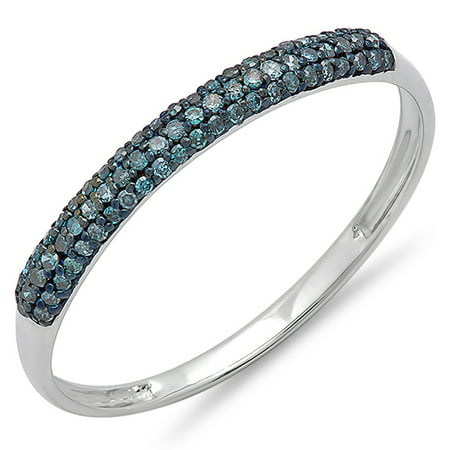 0.20 Carat (ctw) 18k White Gold Round Blue Diamond Bridal Anniversary Wedding Band Stackable Ring 1/5 CT