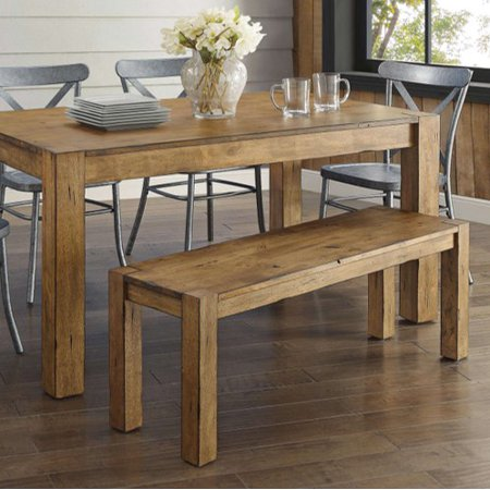 Set Wide Bench (Better Homes & Gardens Bryant Solid Wood Dining Bench, Rustic)